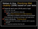 nielsen hoa prioritizing web usability 2006 based on user tests