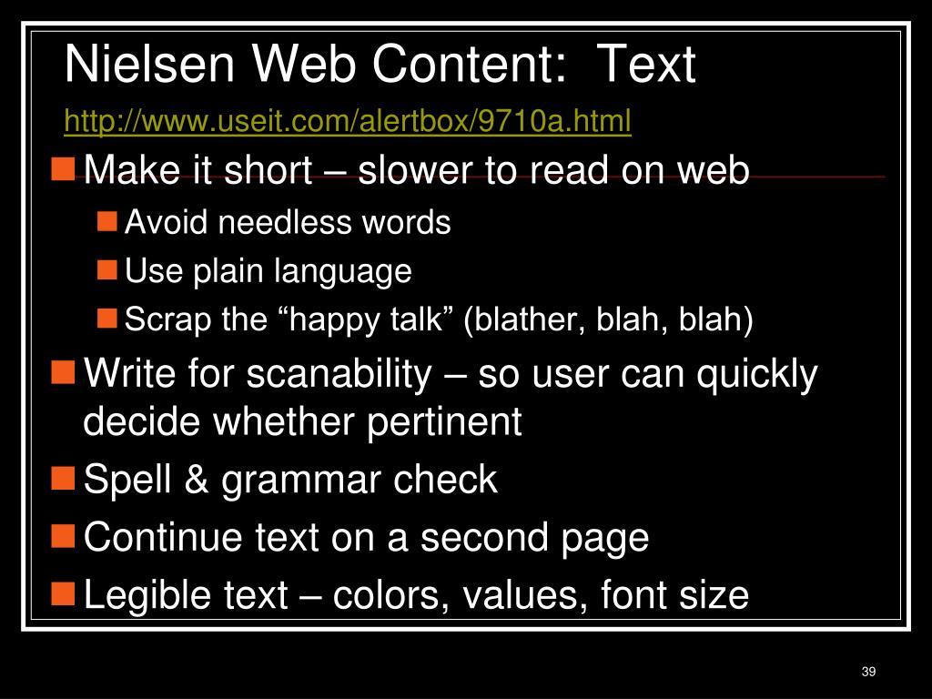 Nielsen Web Content:  Text