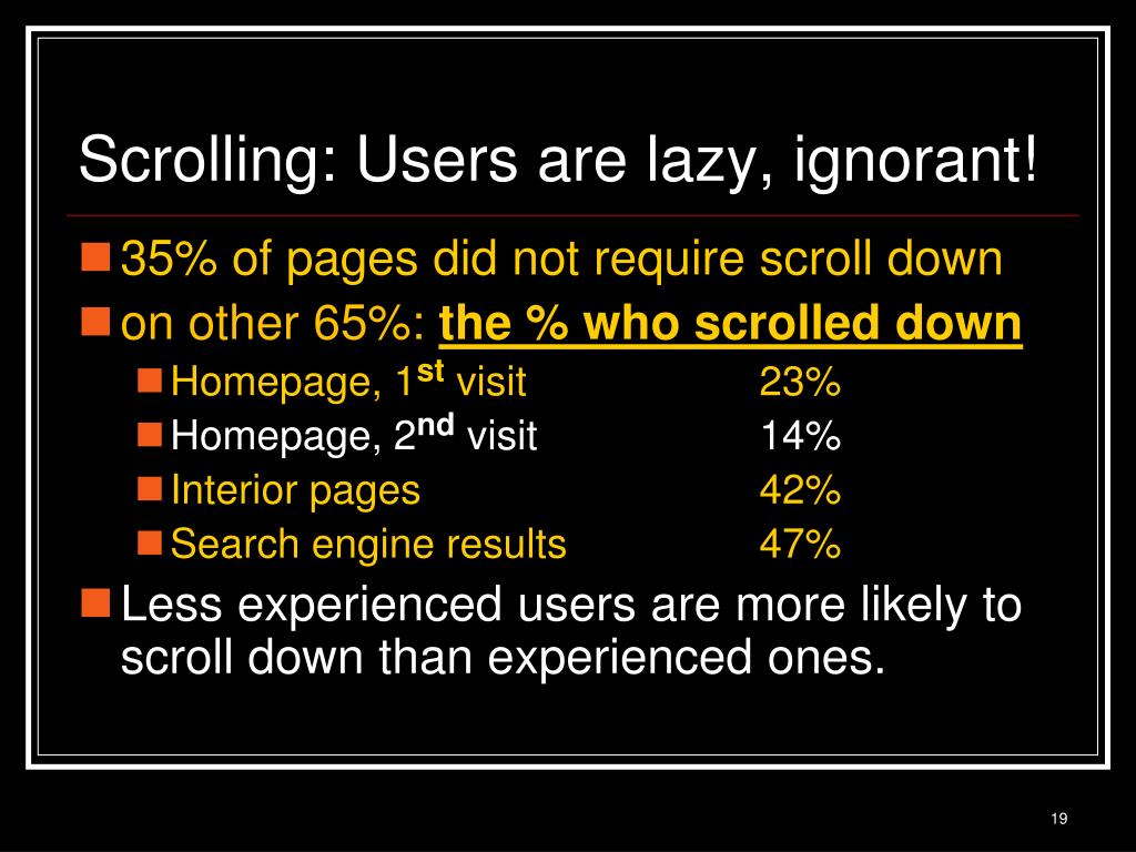 Scrolling: Users are lazy, ignorant!
