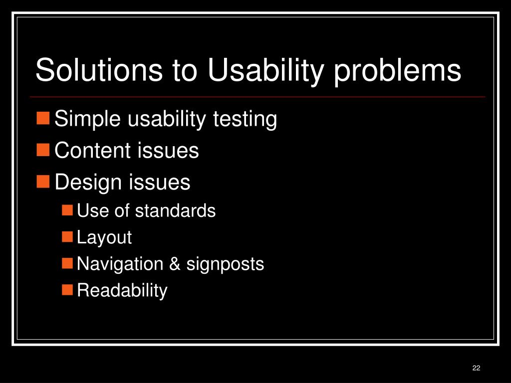 Solutions to Usability problems