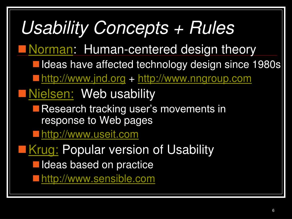 Usability Concepts + Rules