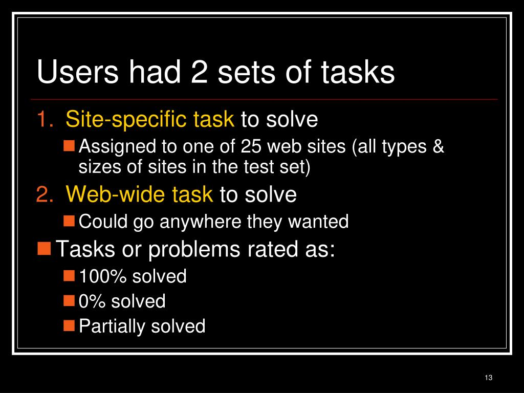Users had 2 sets of tasks