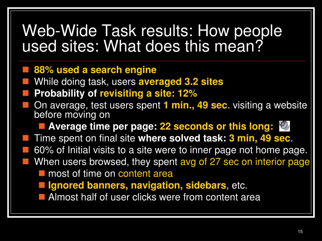 Web-Wide Task results: How people used sites: What does this mean?