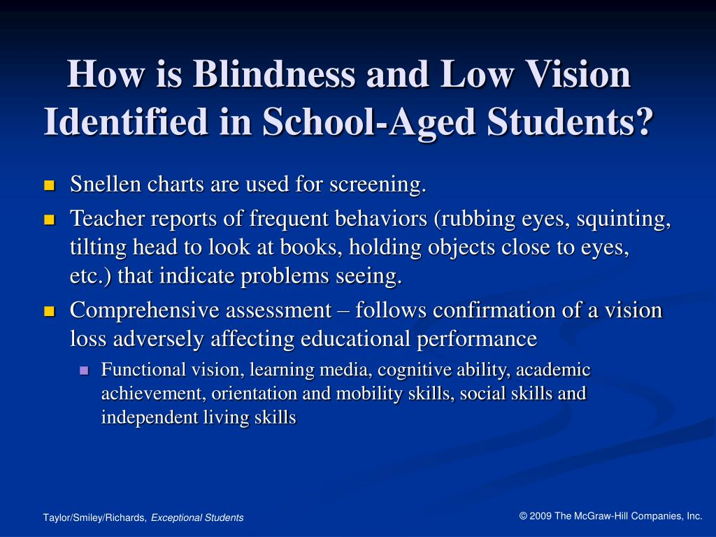 How is Blindness and Low Vision Identified in School-Aged Students?