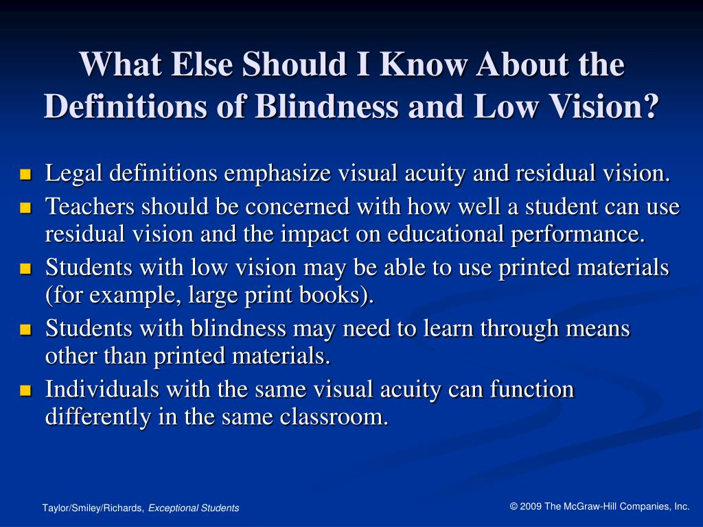 What Else Should I Know About the Definitions of Blindness and Low Vision?