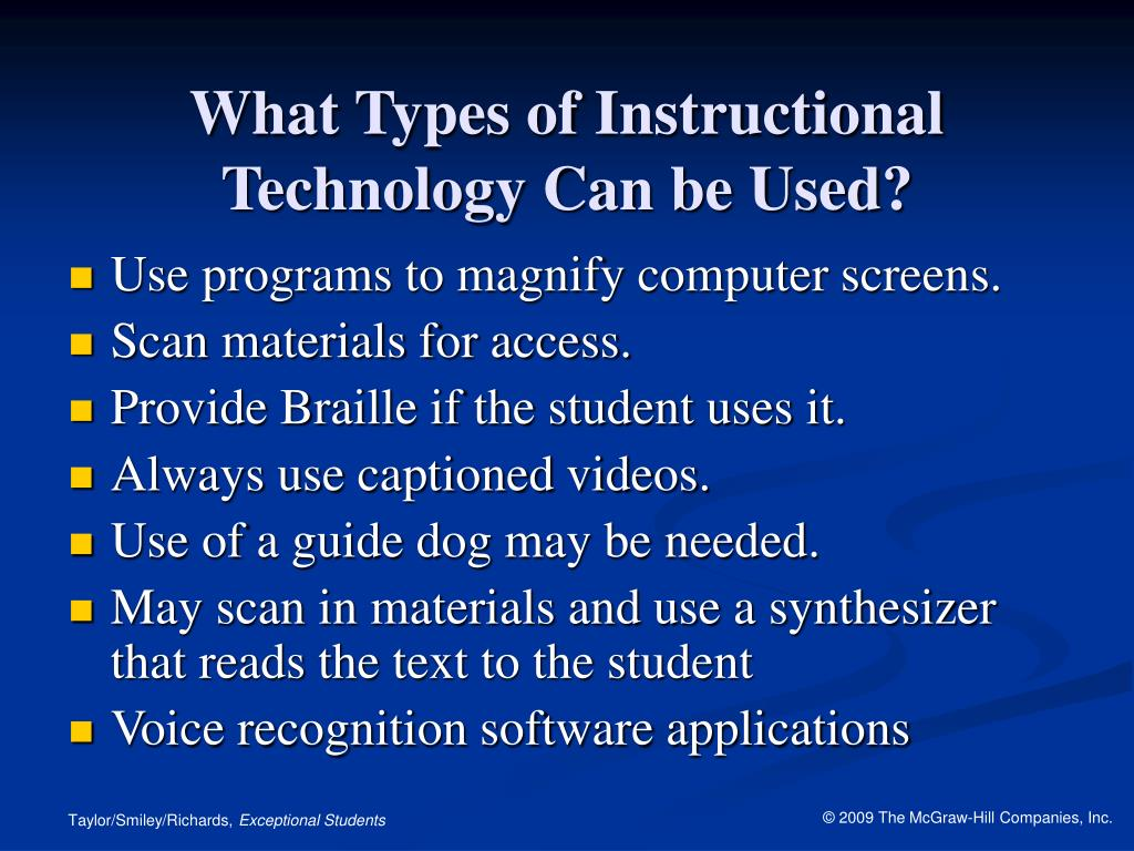What Types of Instructional Technology Can be Used?