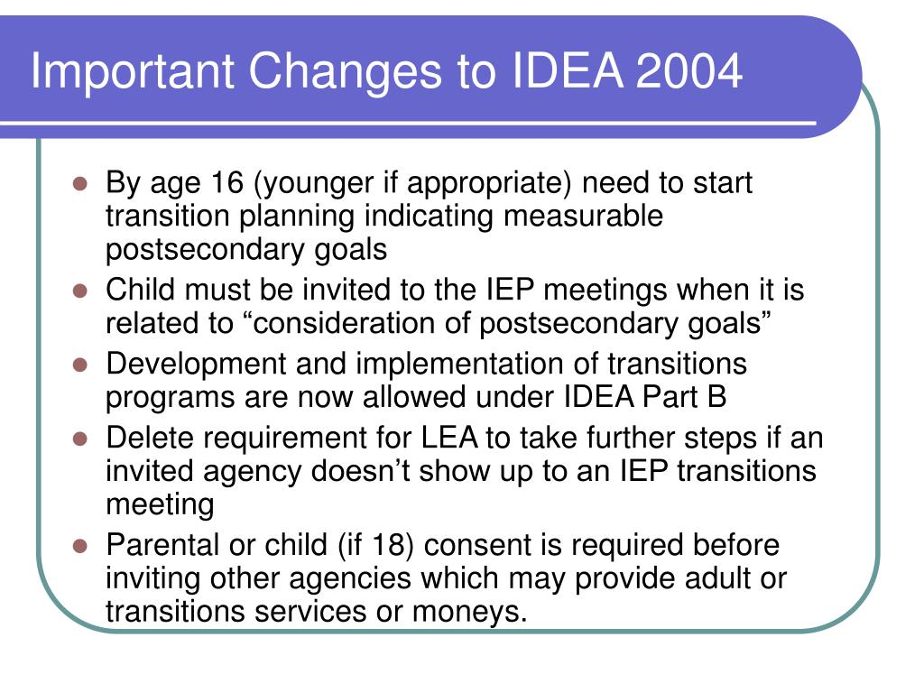 Important Changes to IDEA 2004