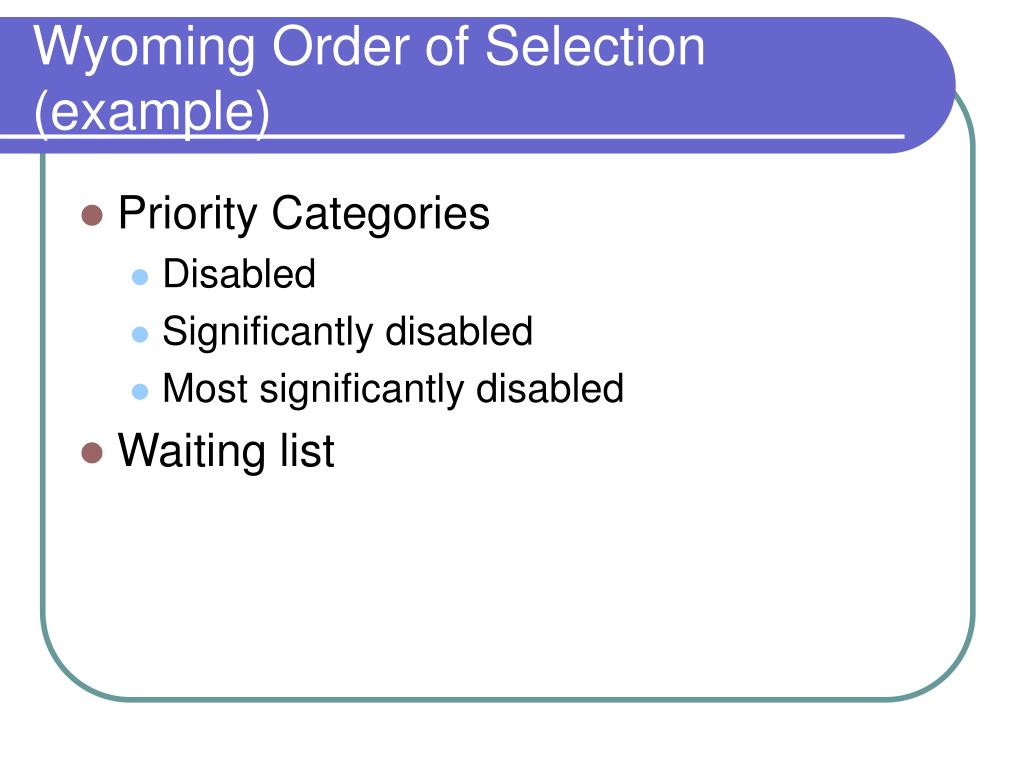 Wyoming Order of Selection (example)