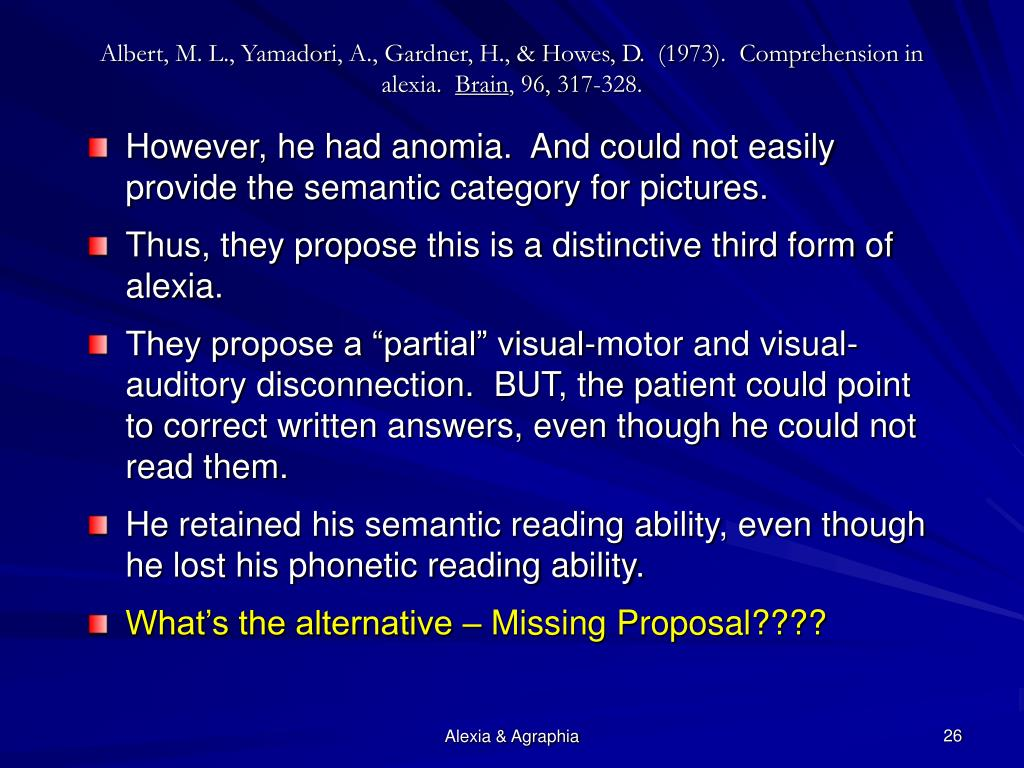 Albert, M. L., Yamadori, A., Gardner, H., & Howes, D.  (1973).  Comprehension in alexia.