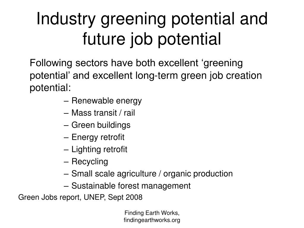 Industry greening potential and future job potential