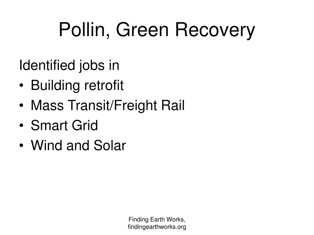 Pollin, Green Recovery
