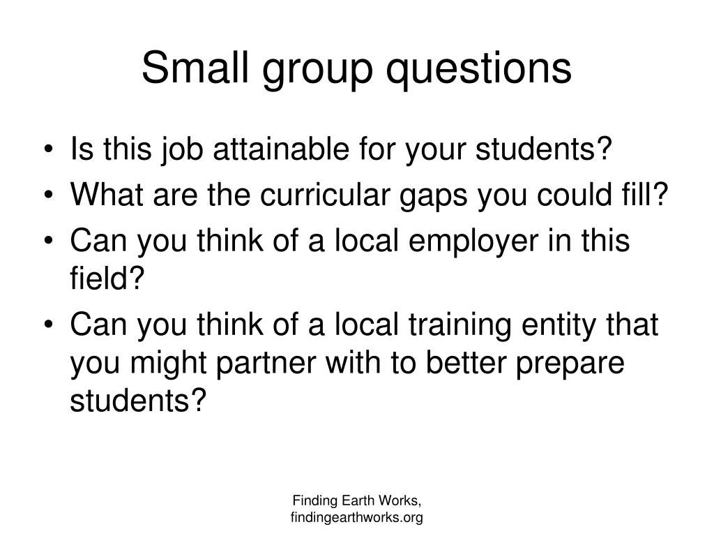Small group questions