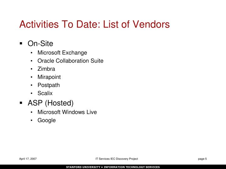 Activities To Date: List of Vendors
