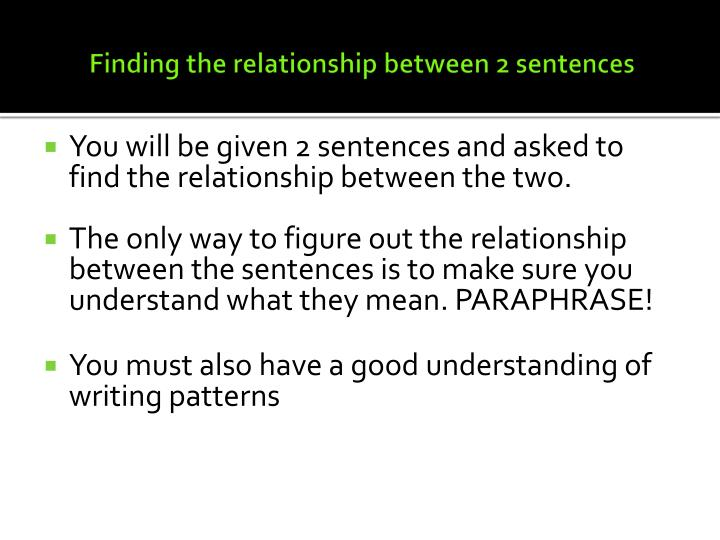 Finding the relationship between 2 sentences