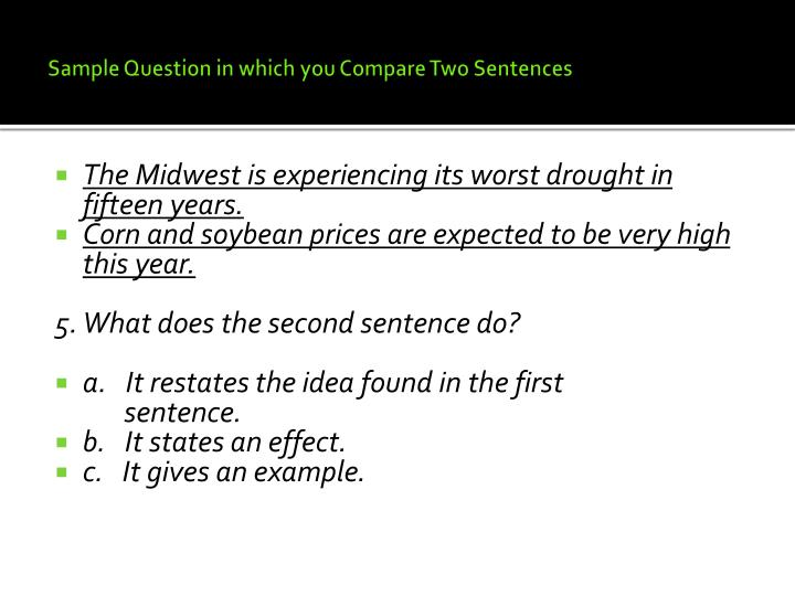 Sample Question in which you Compare Two Sentences