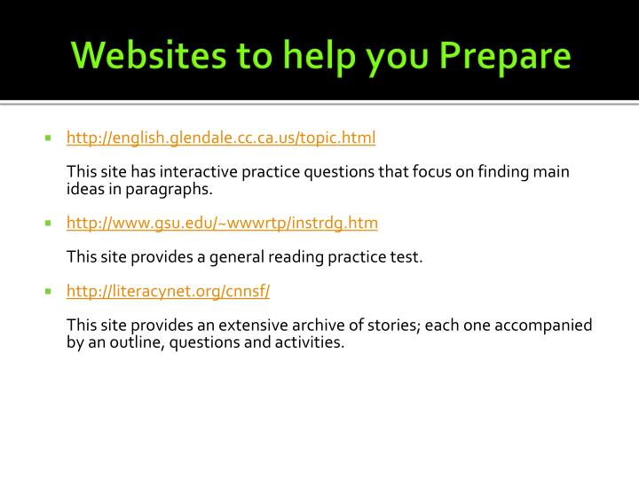 Websites to help you Prepare