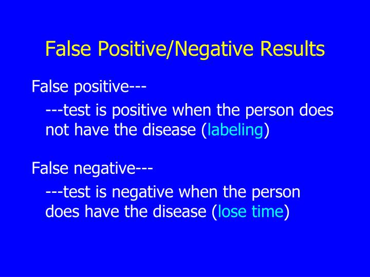 False Positive/Negative Results
