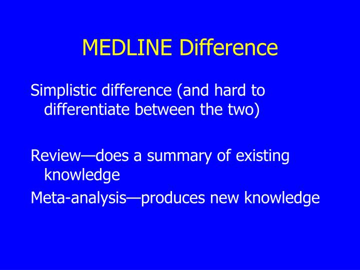 MEDLINE Difference