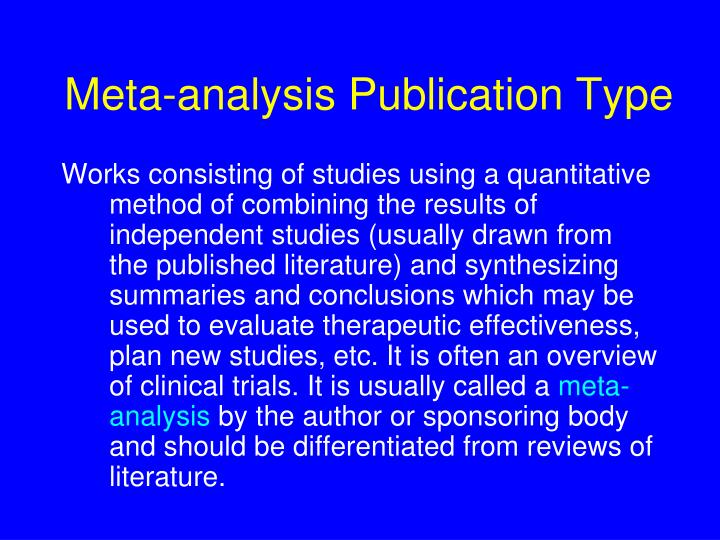 Meta-analysis Publication Type