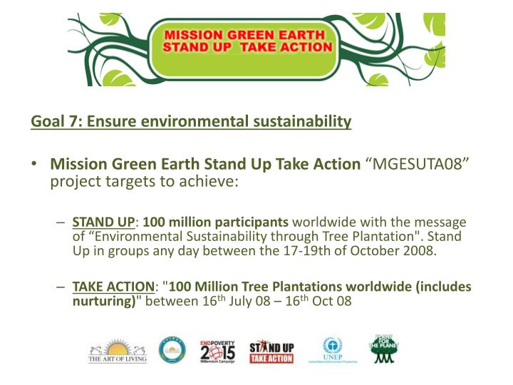 Goal 7: Ensure environmental sustainability