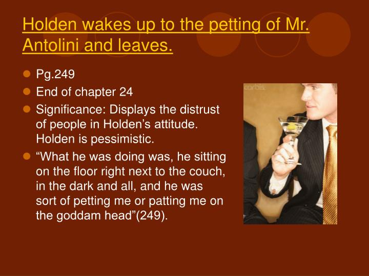 Holden wakes up to the petting of Mr. Antolini and leaves.