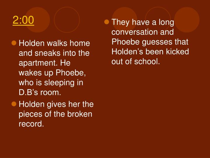 Holden walks home and sneaks into the apartment. He wakes up Phoebe, who is sleeping in D.B's room.
