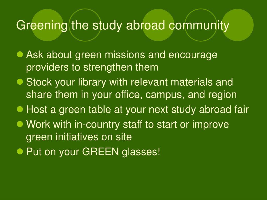Greening the study abroad community