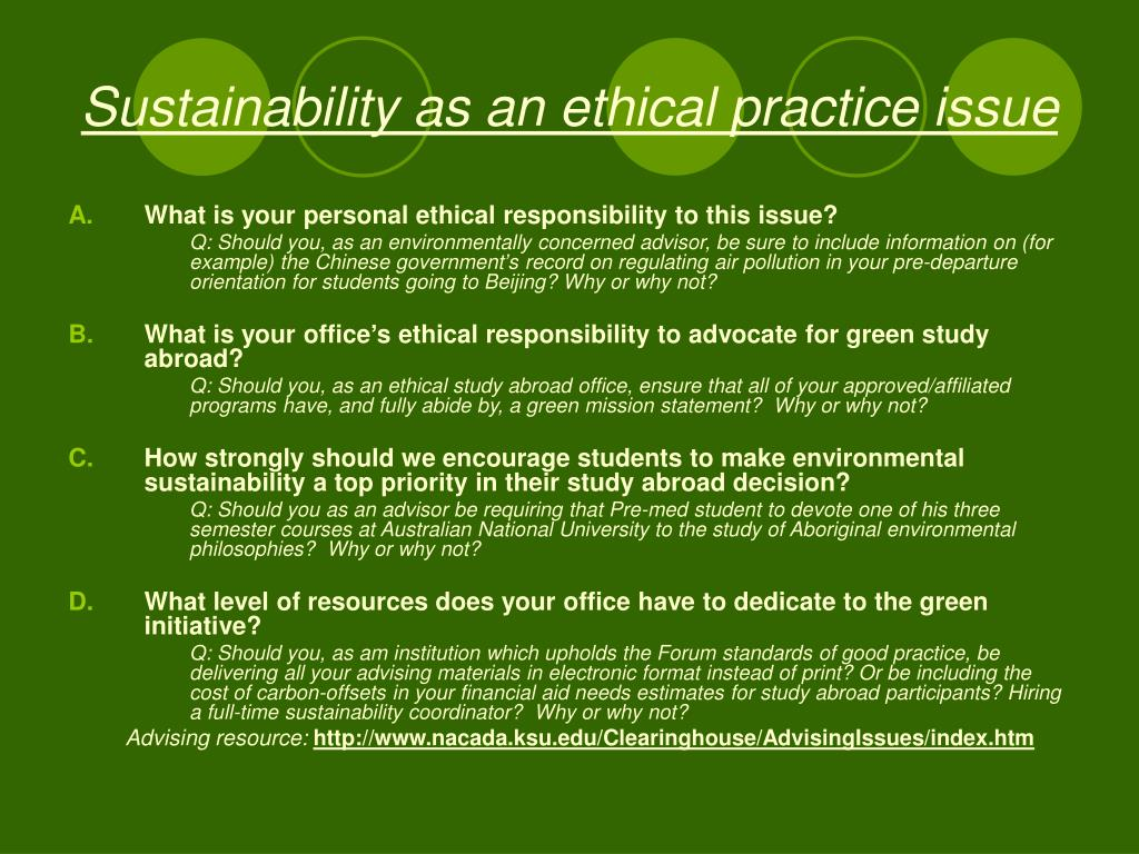 Sustainability as an ethical practice issue