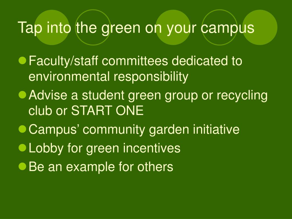 Tap into the green on your campus