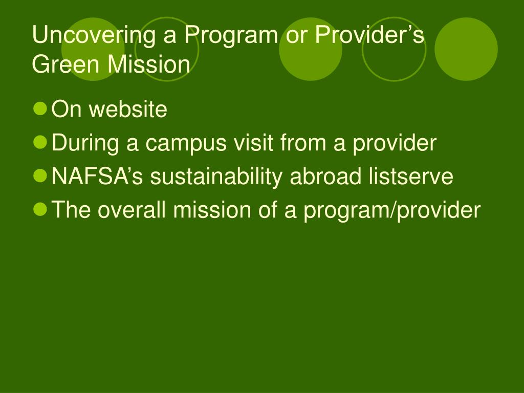 Uncovering a Program or Provider's Green Mission