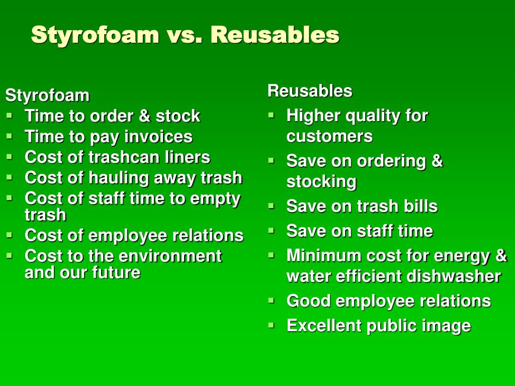Styrofoam vs. Reusables