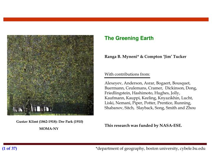 The greening earth