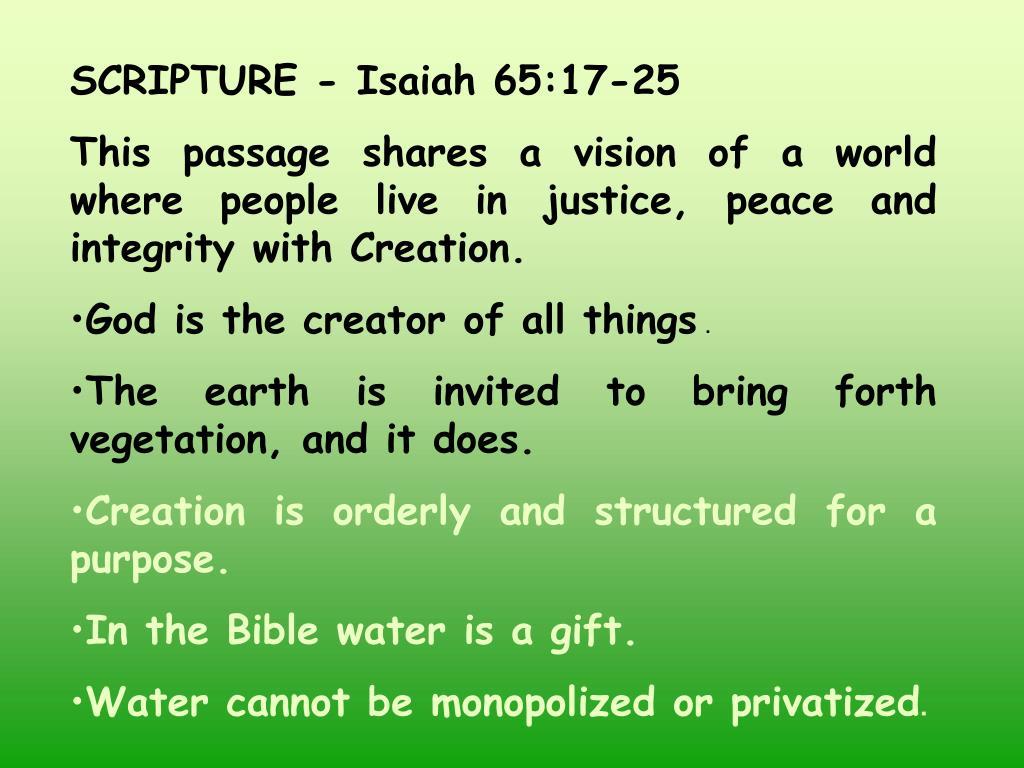 SCRIPTURE - Isaiah 65:17-25