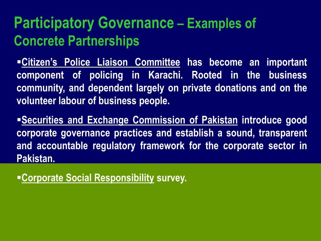 Participatory Governance