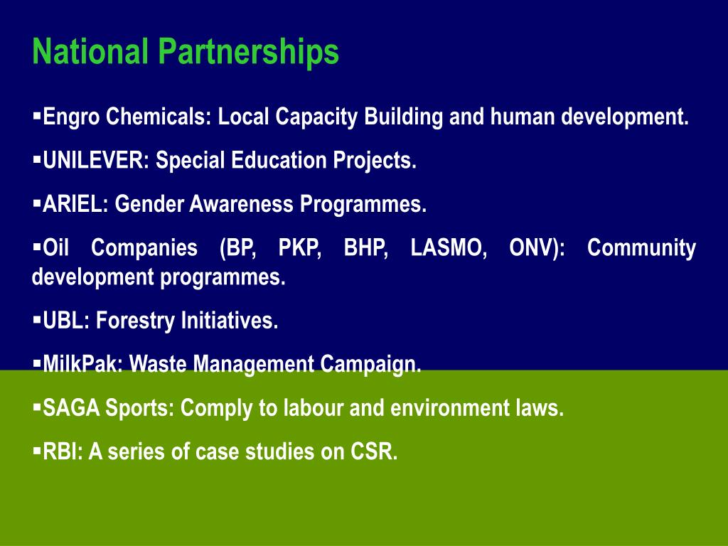 National Partnerships