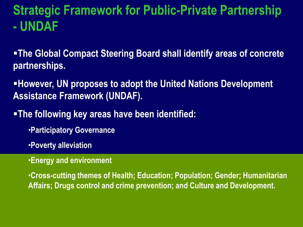 Strategic Framework for Public-Private Partnership - UNDAF