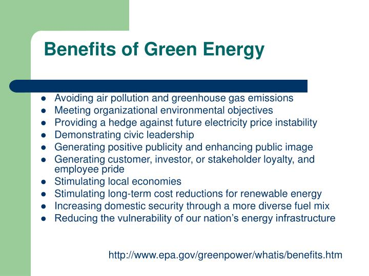 Benefits of green energy