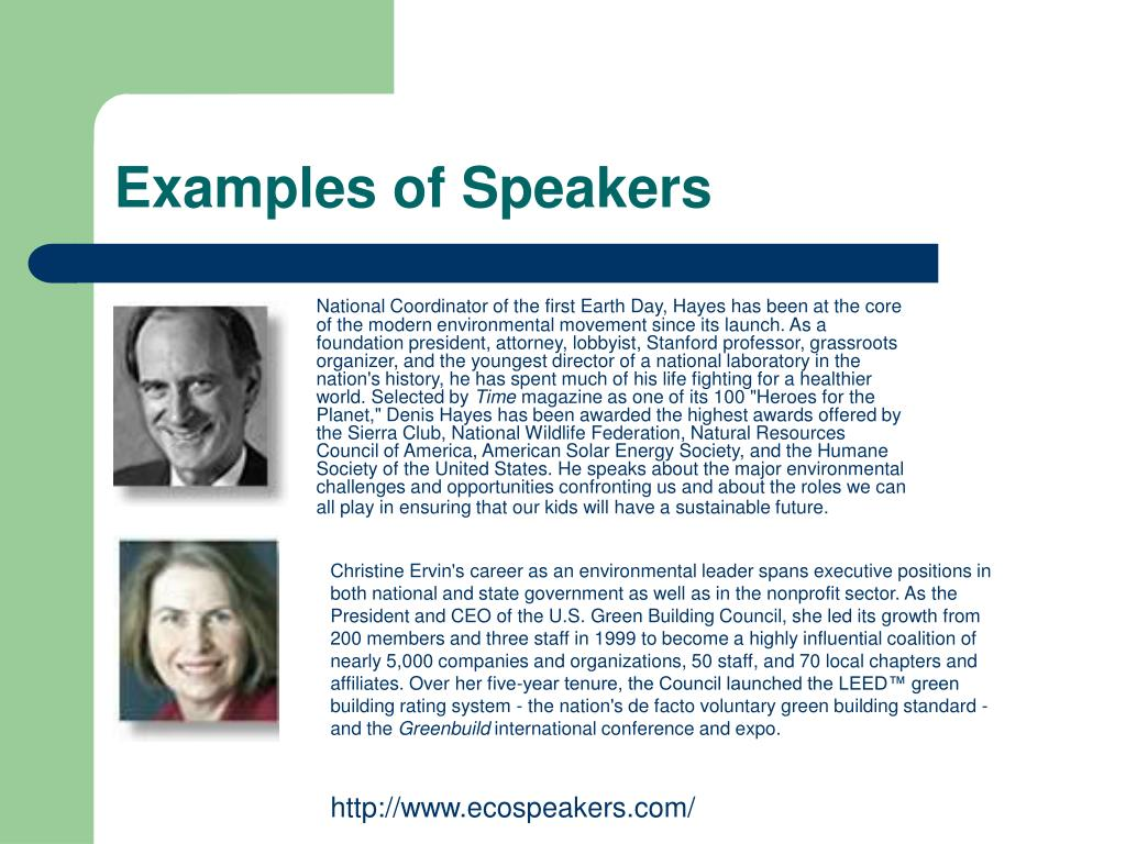Examples of Speakers