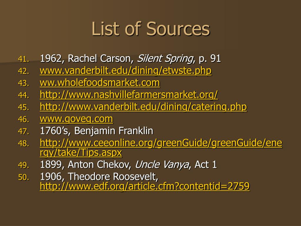 List of Sources
