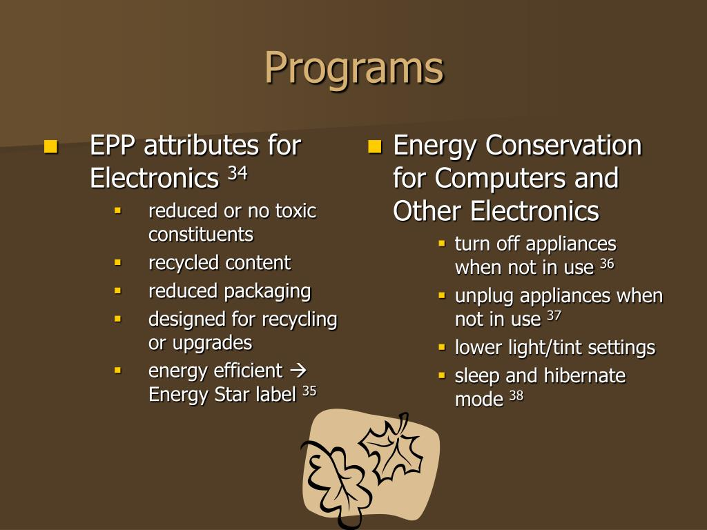 EPP attributes for Electronics