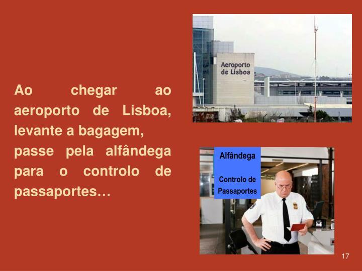 Ao chegar ao aeroporto de Lisboa, levante a bagagem,