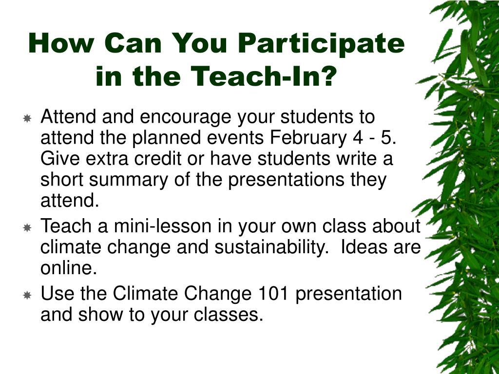 How Can You Participate in the Teach-In?