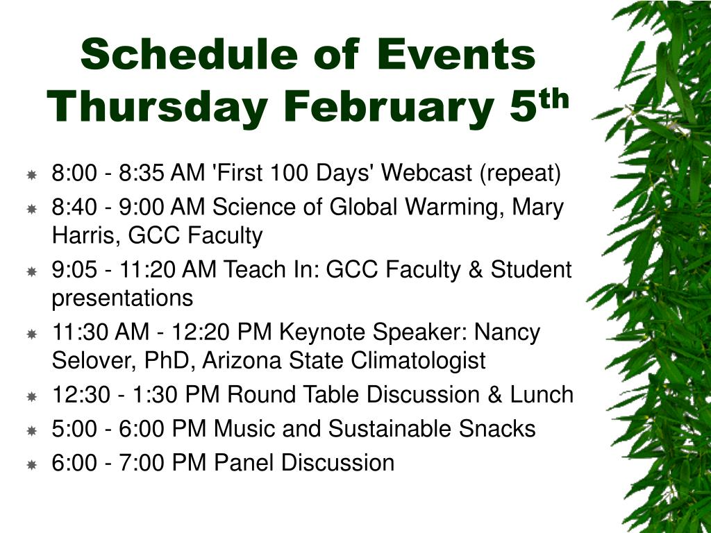 Schedule of Events Thursday February 5