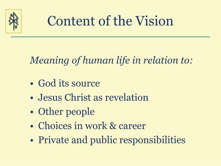 Content of the Vision