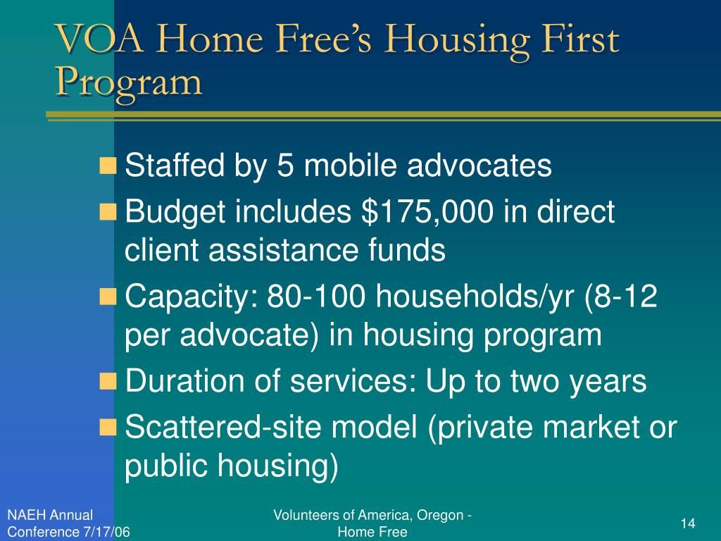 VOA Home Free's Housing First Program