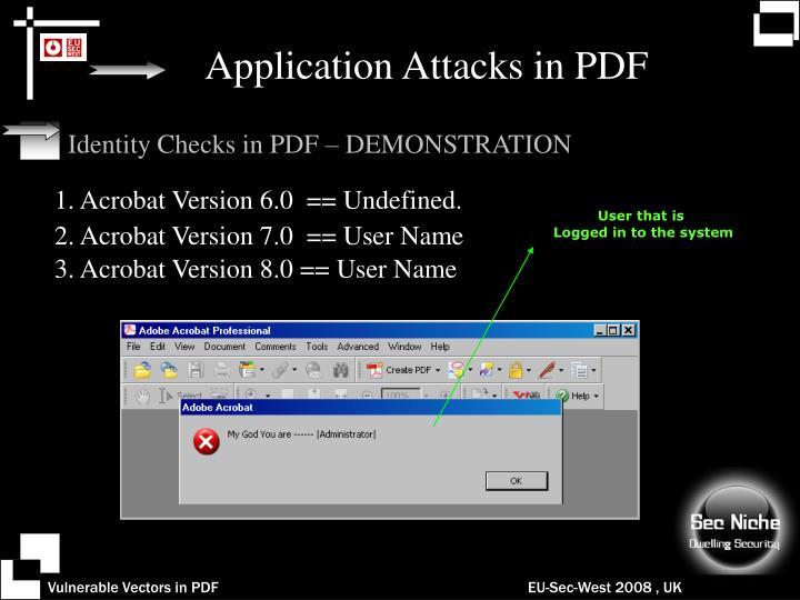 Application Attacks in PDF