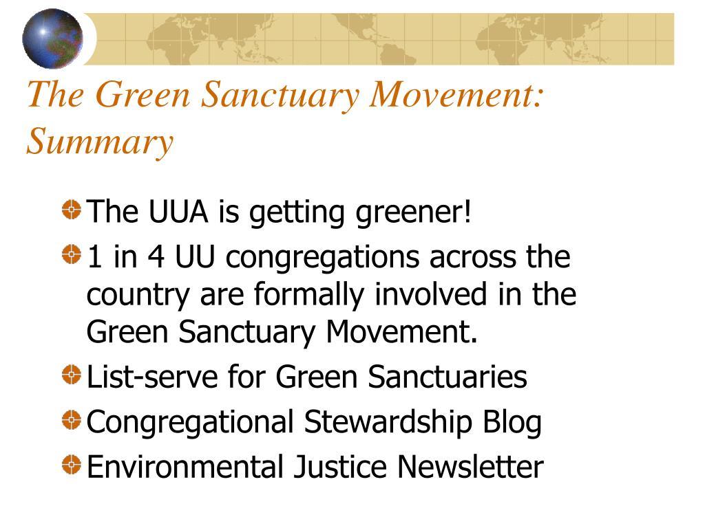 The Green Sanctuary Movement: Summary