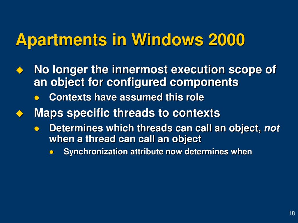 Apartments in Windows 2000