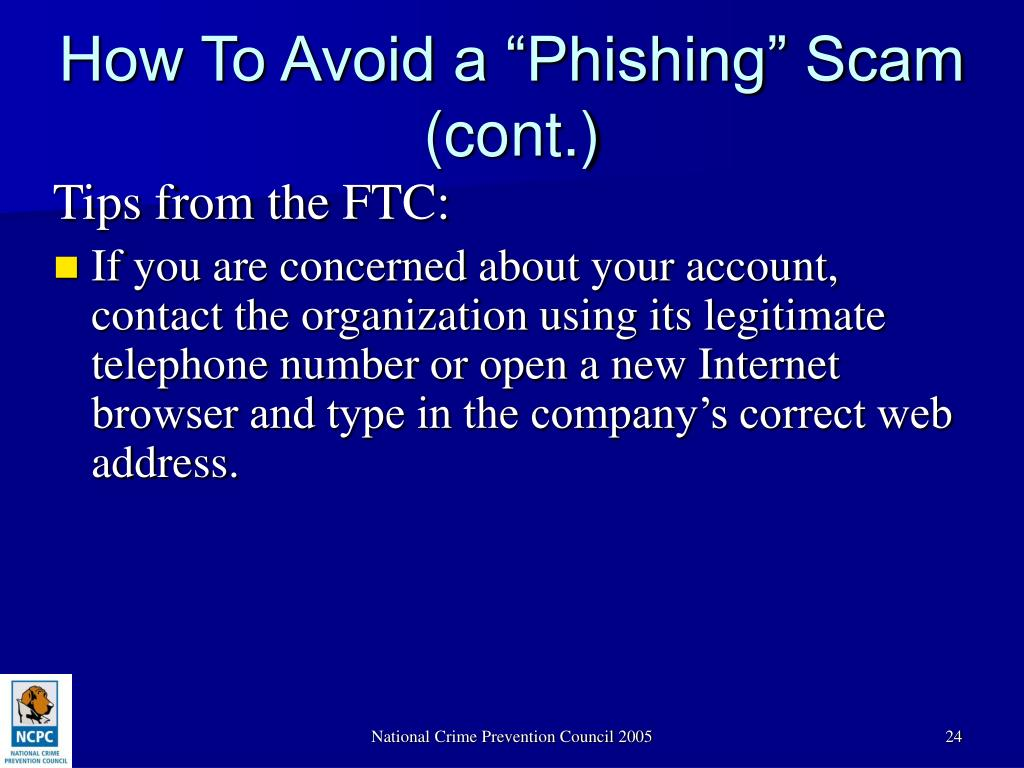 "How To Avoid a ""Phishing"" Scam (cont.)"