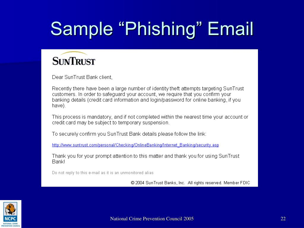 "Sample ""Phishing"" Email"